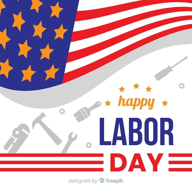 Labor day background flat design Free Vector