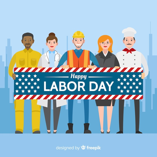 Labor day background in flat style Free Vector