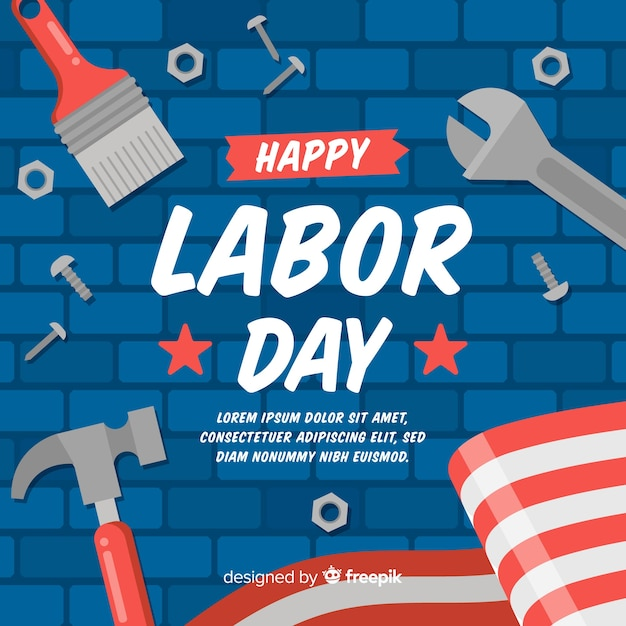 Labor day background flat style Free Vector