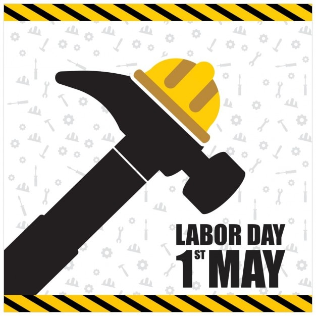 Labor day background of hammer with a helmet Free Vector