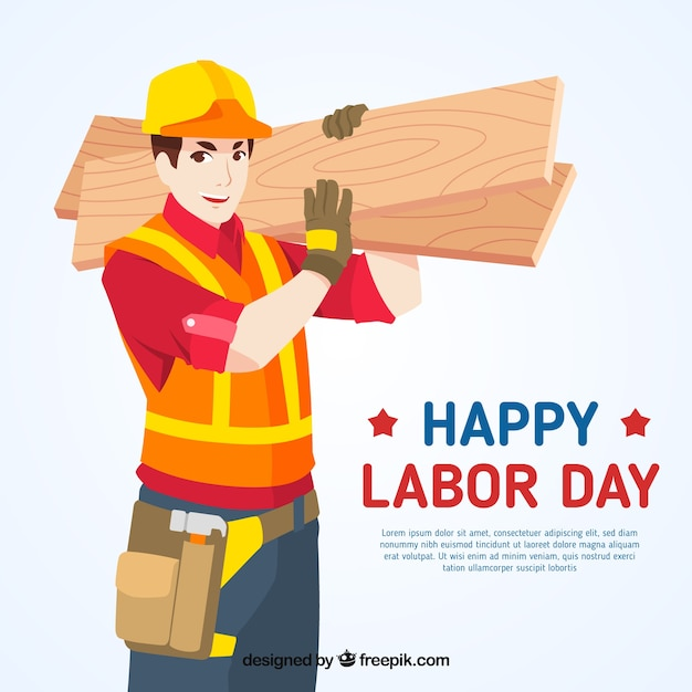 Labor day background with builder Free Vector