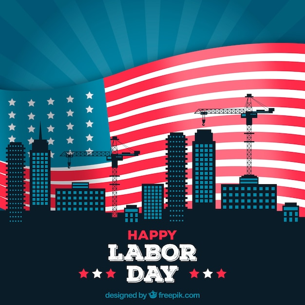 Labor day background with city