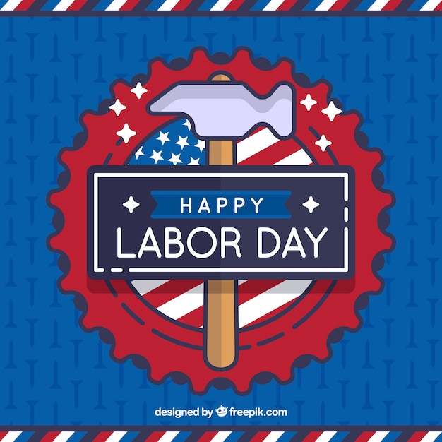 Labor day background with hammer in linear\ style