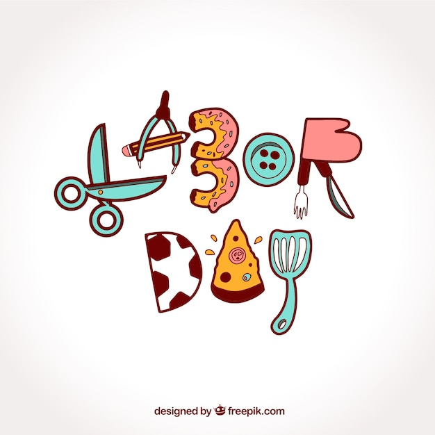Labor day background with hand drawn letters elements