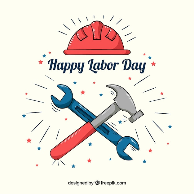 Labor day background with hand drawn\ tools