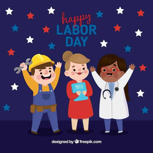 Labor day background with happy workers