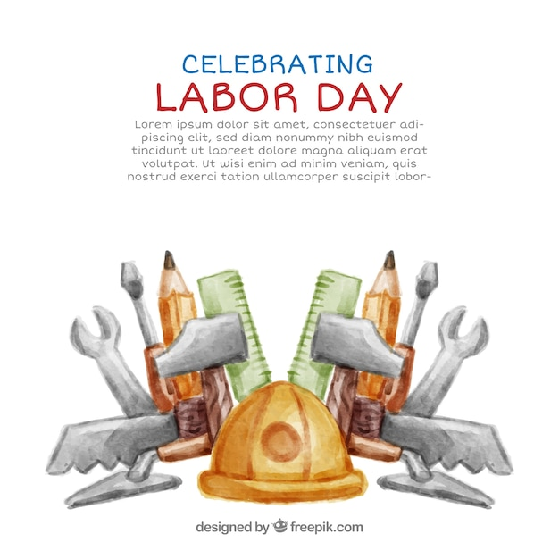 Labor day background with helmet and watercolor tools