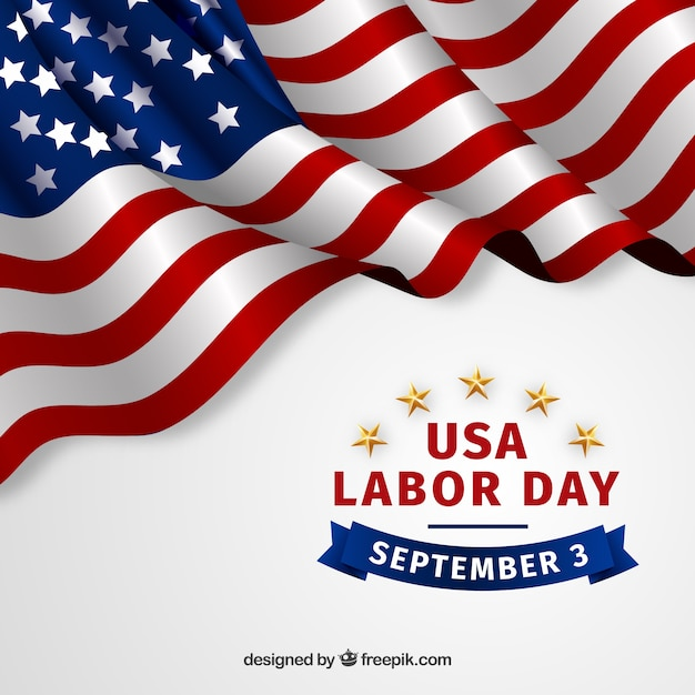 Labor day background with realistic flag Free Vector