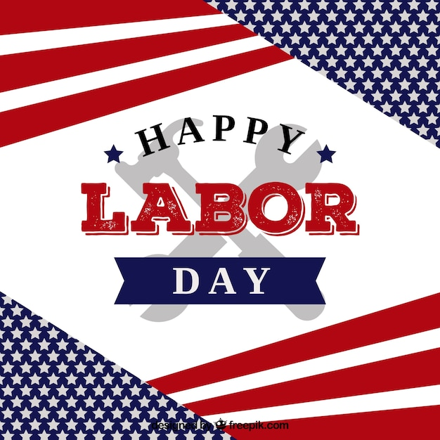 Labor day background with tools and flag