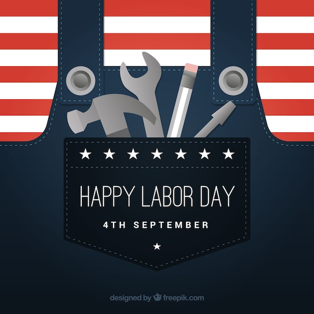 Labor day background with tools in pocket Free Vector