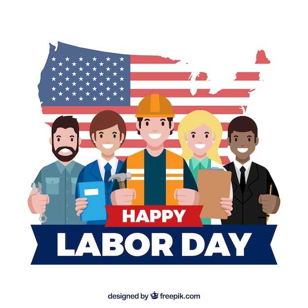 Labor day background with workers Free Vector