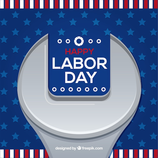 Labor day background with wrench in flat\ style
