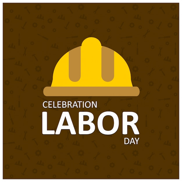 Labor day background with yellow helmet Free Vector