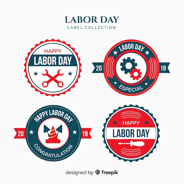 Labor day badge collection Free Vector
