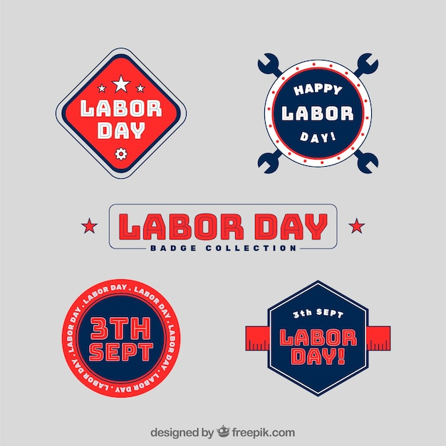 Labor day badges collection in flat\ style