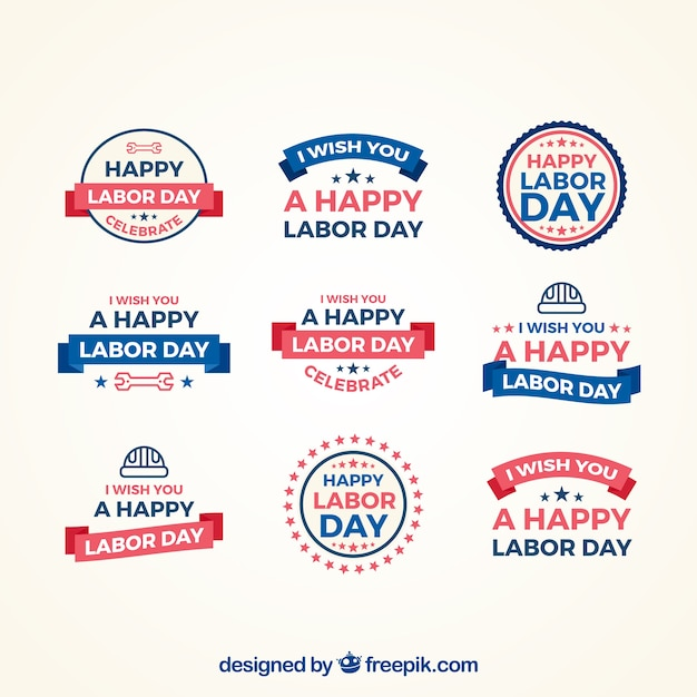 Labor day badges collection in flat style Free Vector