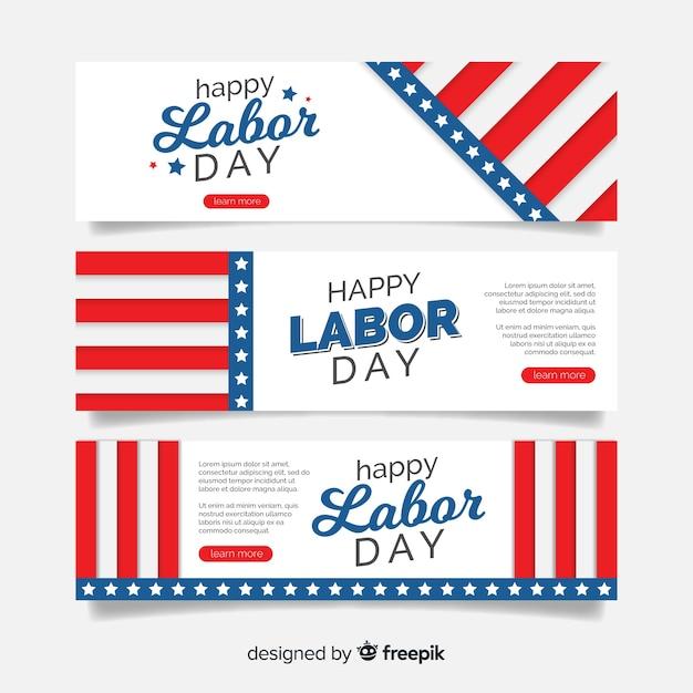 Labor day banner flat design Free Vector