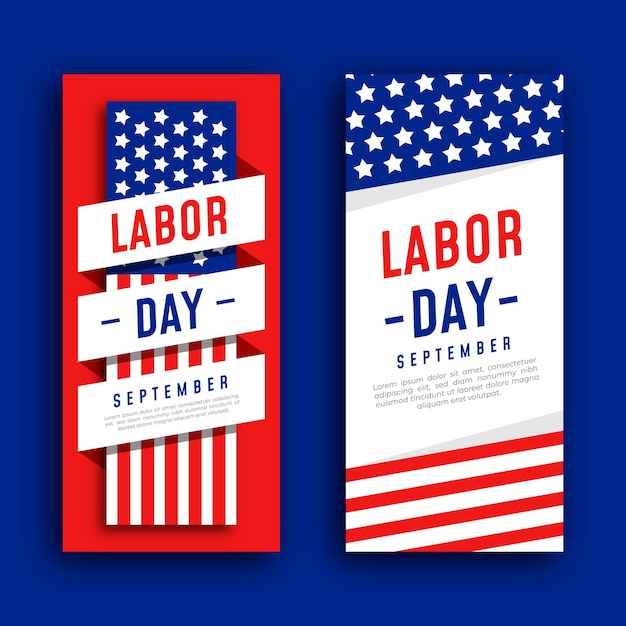 Labor day banner template design Free Vector