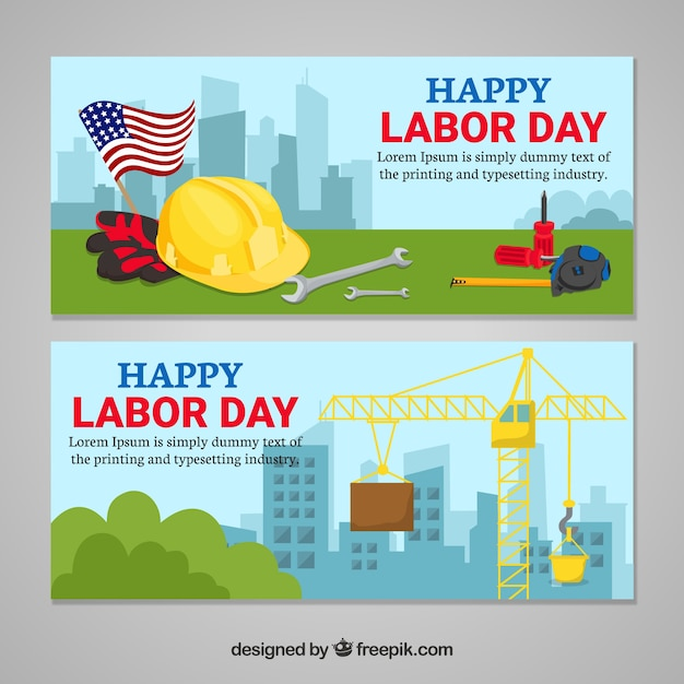 Labor day banners in flat style