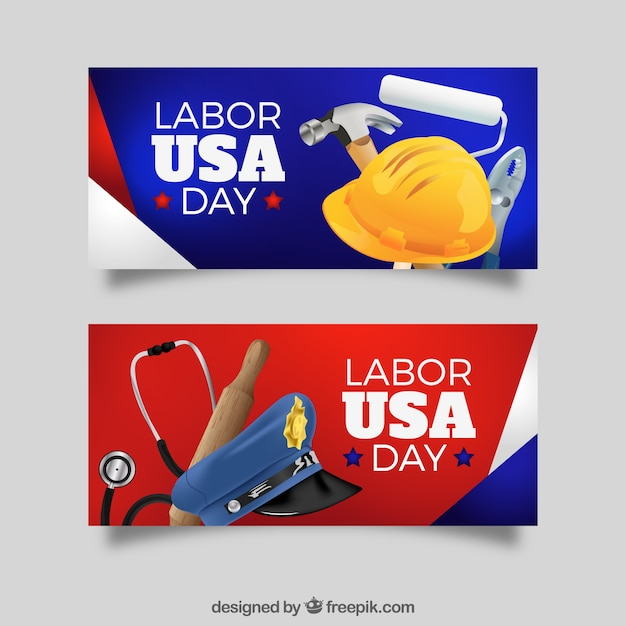Labor day banners in the usa with\ elements