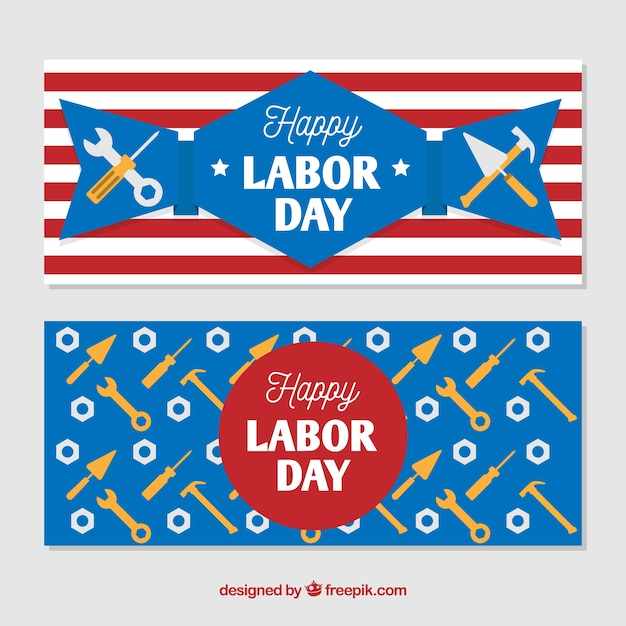 Labor day banners in the usa with tools in flat\ design