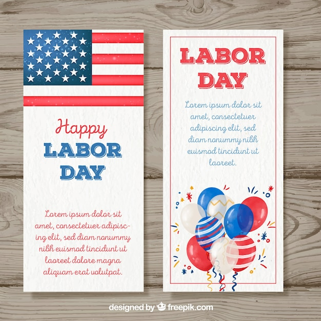 Labor day banners in watercolor style