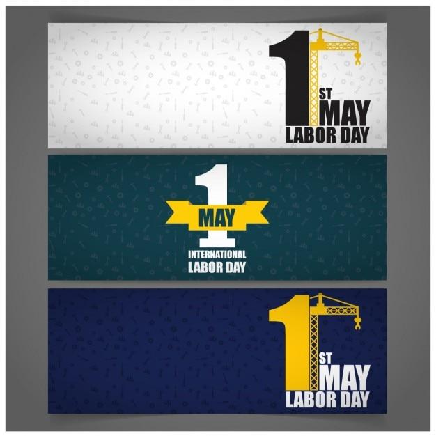 パターンの背景5月1日労働者の日のタイムラインバナー 無料ベクター