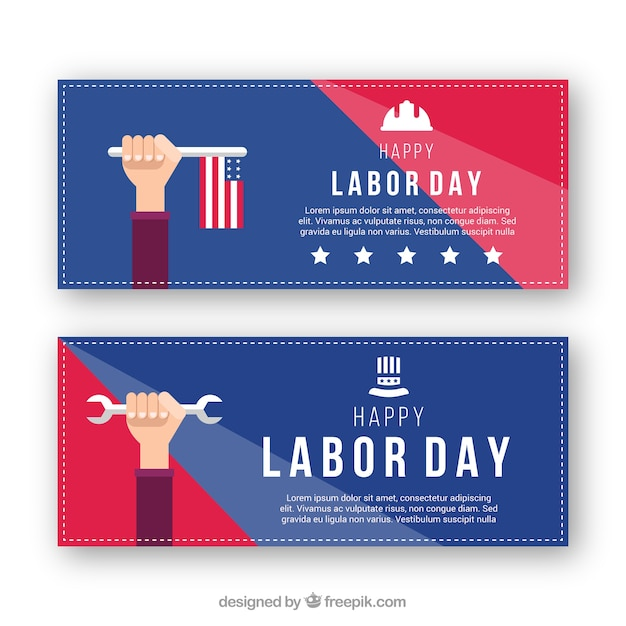 Labor day banners with american flag and\ wrench