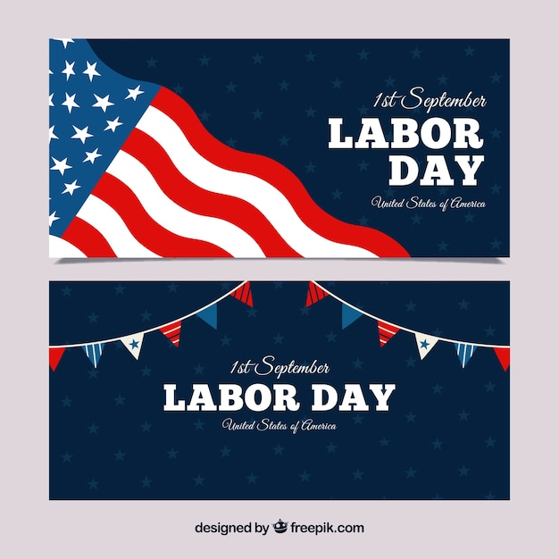 Labor day banners with american flag