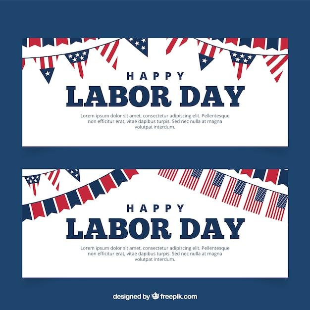 Bandiere di giorno lavoro con le bandiere americane Vettore gratuito