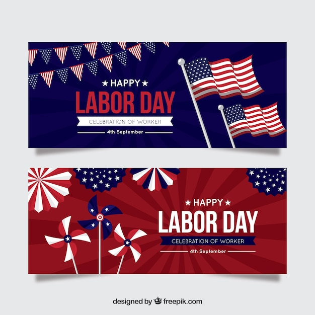 Labor day banners with american flags