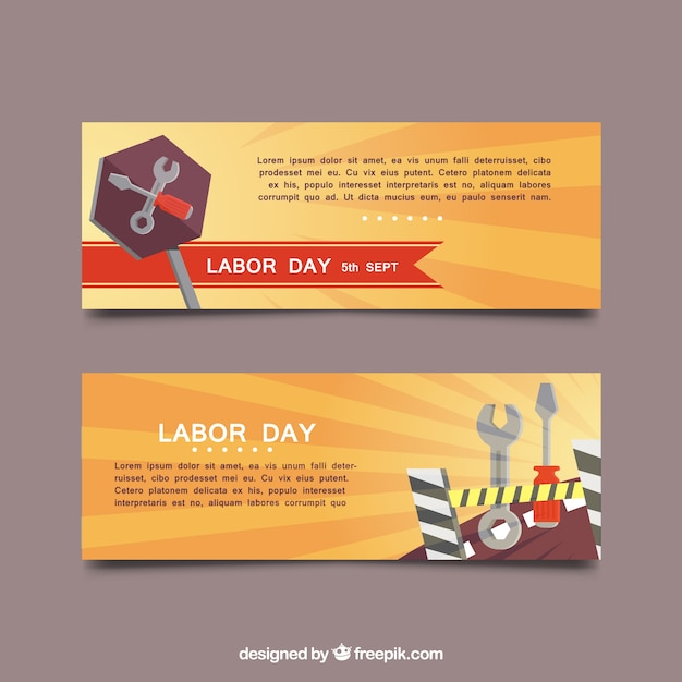 Labor day banners with background in orange\ tones