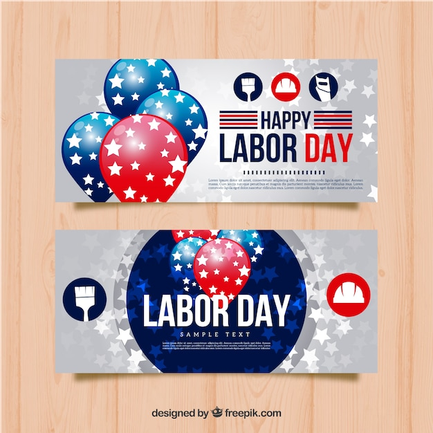 Labor day banners with balloons