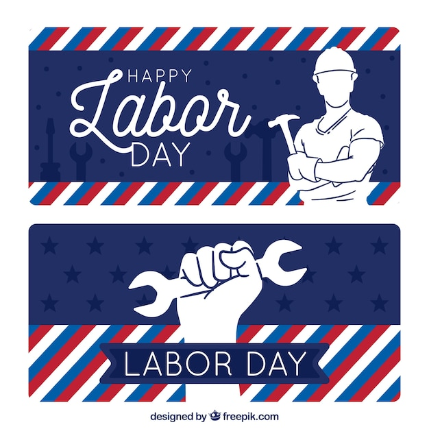 Labor day banners with drawings and\ stripes
