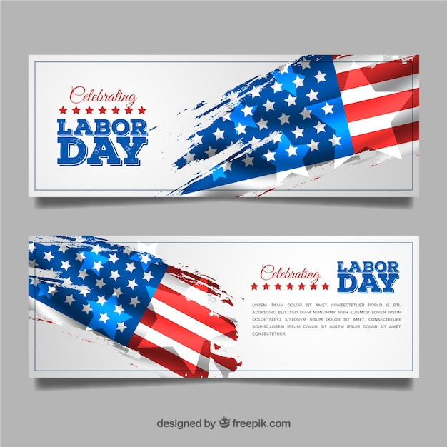Labor day banners with flag Free Vector