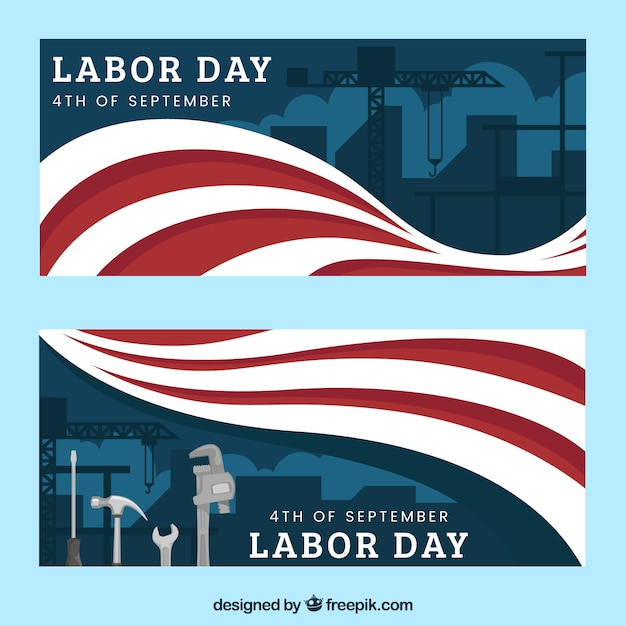Labor day banners with flags