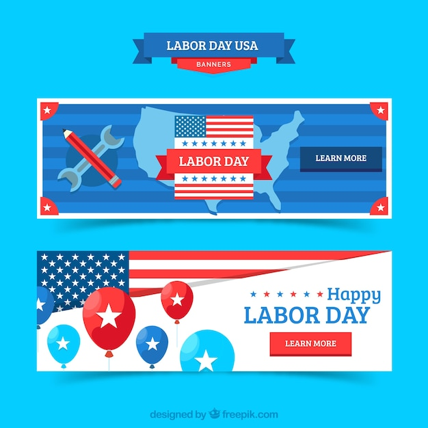 Labor day banners with flat design Free Vector