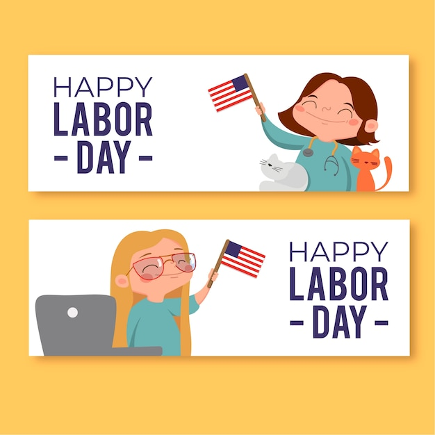 Labor day banners with happy women