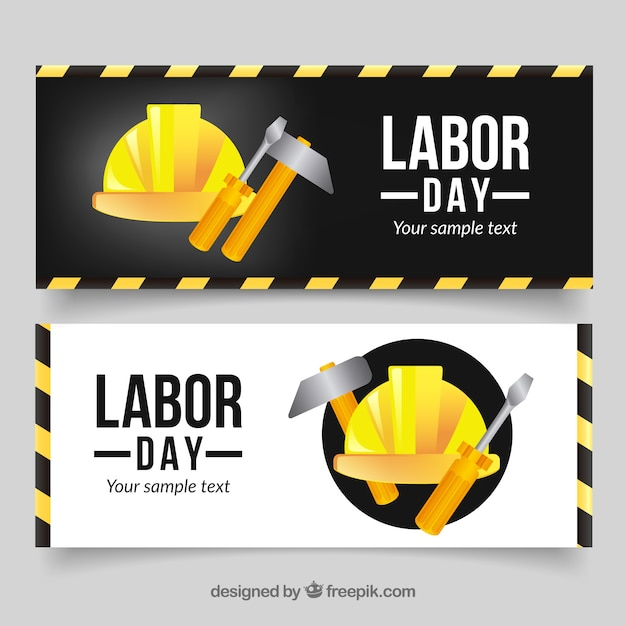 Labor day banners with helmet and tools