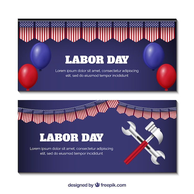 Labor day banners with tools and\ balloons