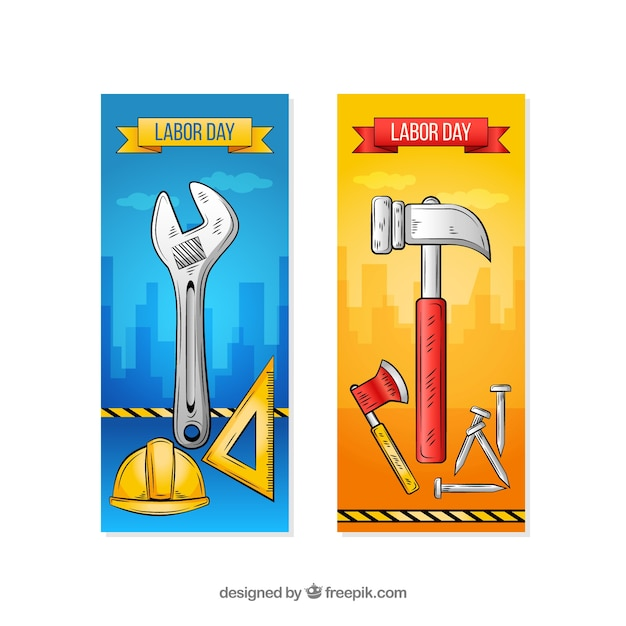 Labor day banners with tools Free Vector