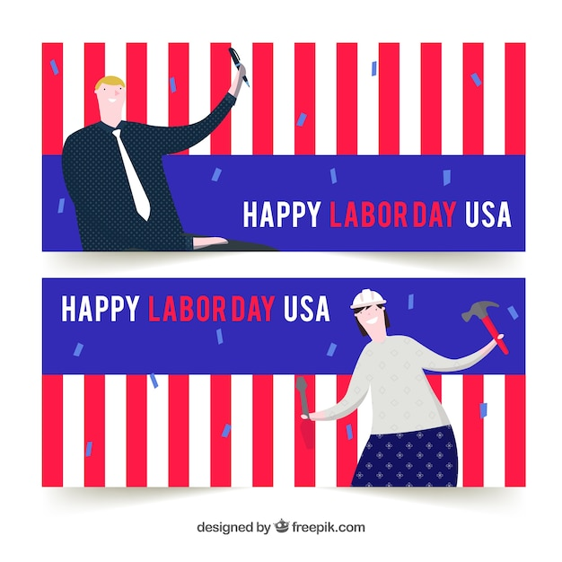 Labor day banners with workers