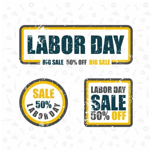 Labor day big sale grunge rubber stamp set Free Vector