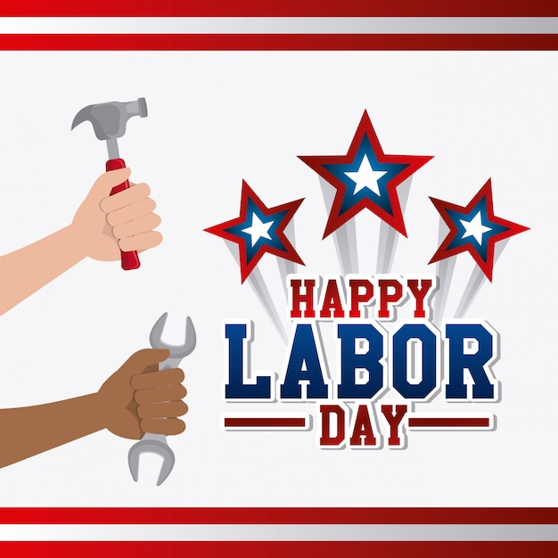 Labor day card design. Free Vector