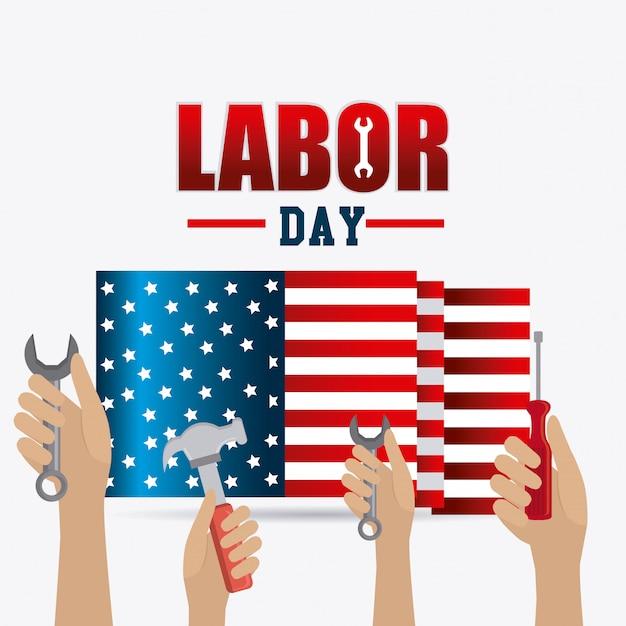 Labor day card design. Free Vector