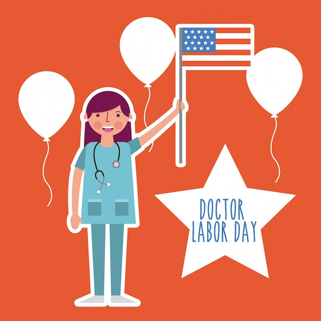 Labor day card Free Vector