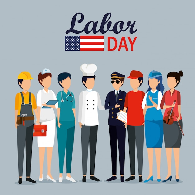 Labor day celebration with professional workers Free Vector