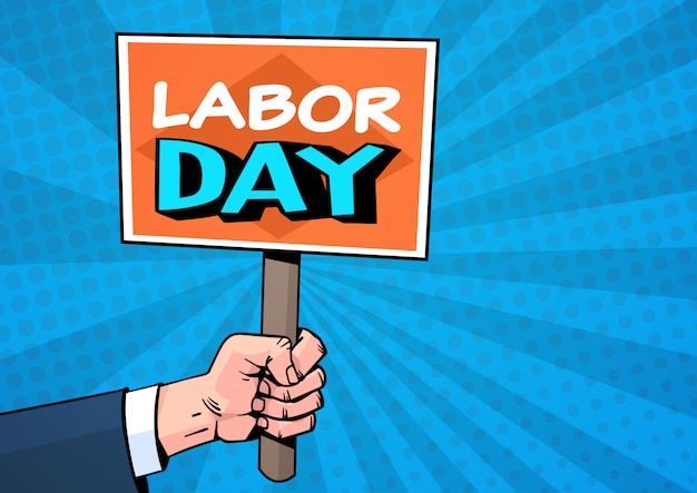 Labor day comic style over pop art. 1 may holiday greeting card design Premium Vector