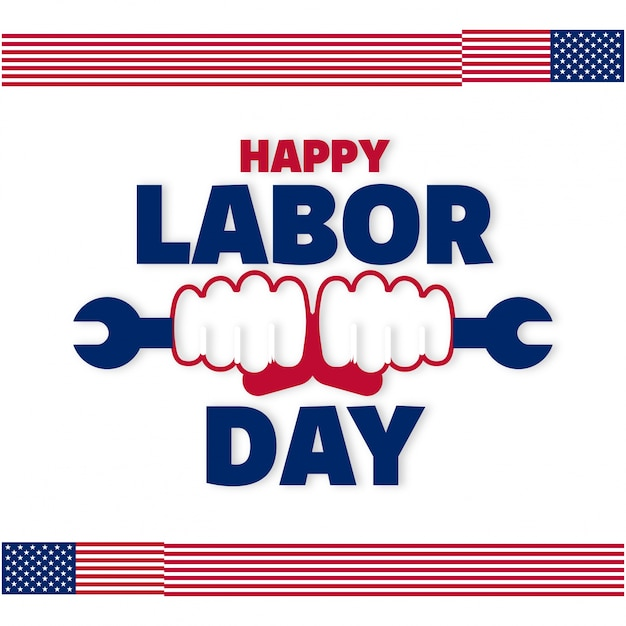 Labor day design with hands holding wrench