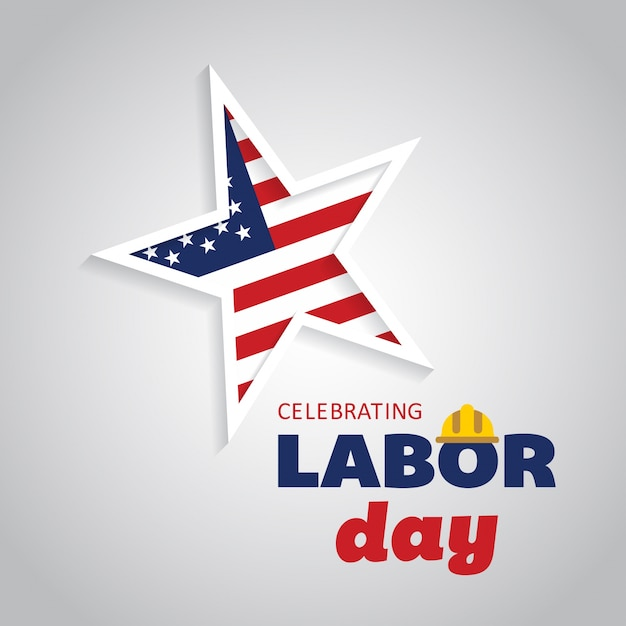 Labor day design with star Free Vector